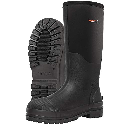 HISEA Men's Work Boots Neoprene Rubber Rain Boots Muck Mud Boots Insulated Outsole Black