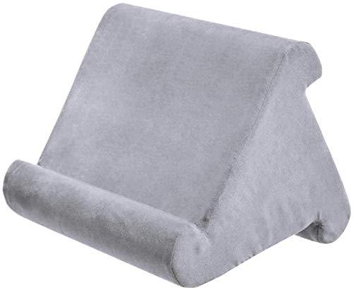 ConPush Soporte de Cojín para Tablet, Multiángulo Soporte para Tablet y Libros con Forma de Almohada Para Cama, Coche, Cocina(Gris)