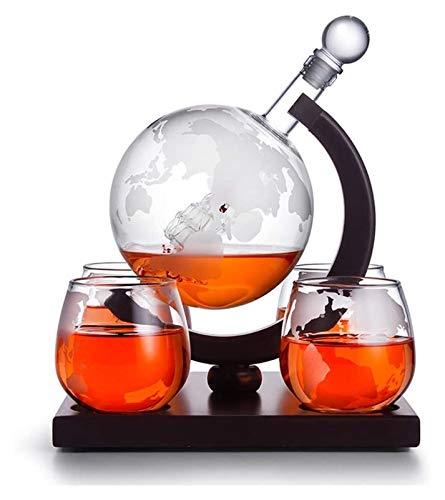 Set di globe del whisky Decanter, Globe del whisky Decanter con 4 bicchieri di whisky del globo inciso, 850 ml Decanter globo con tappo di vetro, per liquori, scotch, bourbon, vodka Decanter