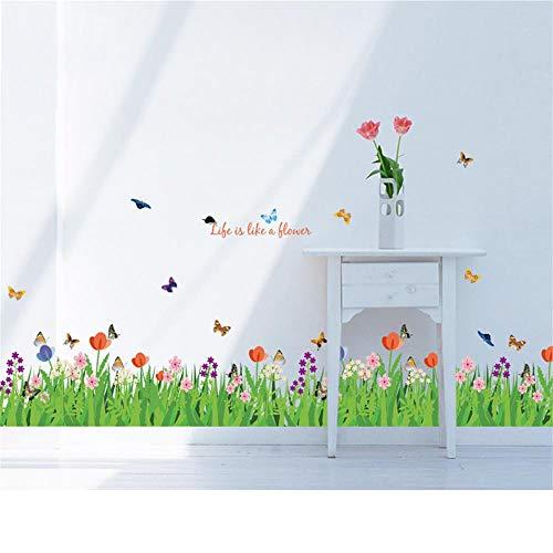 decalmile Wandtattoo Grüne Gras Blumenwiese Wandsticker Schmetterling Bordüre Wandaufkleber Wohnzimmer Schlafzimmer Wanddeko