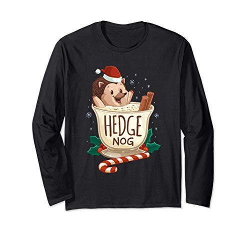 Divertente Natale Natale con la siepe Nog Hedgehog Hedgehog Maglia a Manica
