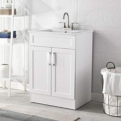 """Modern 24"""" White Bathroom Vanity Sink Combo Durable Two Door Bathroom Vanity,Bathroom Cabinet Set with Ceramic Vessel Sink"""