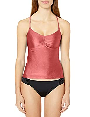 Anne Cole Studio Women's Shirred Tankini Swim Top, Pink, Large