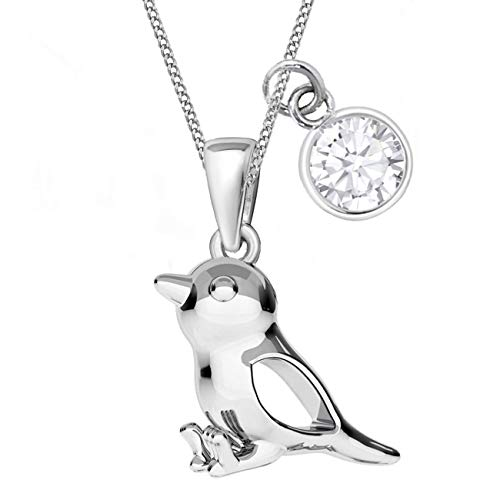 Zirkonia Spatz Anhänger mit Halskette 925 Echt Sterling Silber Vogel Kette für Mädchen Kinder (CZ Weiss, 38)