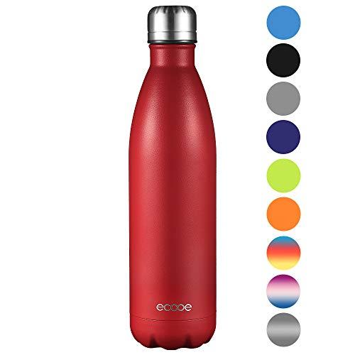 Ecooe Thermosflasche 750ml Doppelwandig Trinkflasche Edelstahl Wasserflasche Vakuum Isolierflasche Rot