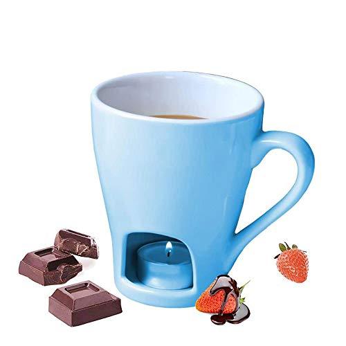 L-M-Yang Keramik Fondue Becher Set, Schokoladen- und Käsefondue, Schokoladenfondue Becher Set Käsetopf - 1 Gabeln [Ohne Kerzen]