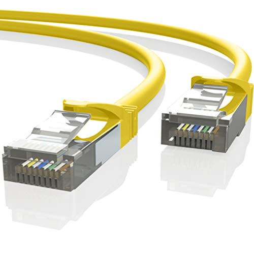 Mr. Tronic 25m Cavo di Rete Ethernet | CAT7, SFTP, CCA, RJ45 | (25 Metri, Giallo)