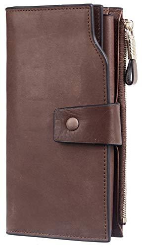 Travelambo Womens RFID Blocking Large Capacity Luxury Waxed Genuine Leather Clutch Wallet Multi Card Organizer(Wek Brown Up)