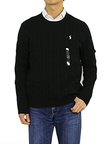 Polo Ralph Lauren Mens Cable Knit Crew Neck Sweater (Large, Polo Black)