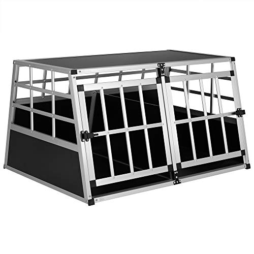 Cadoca Hundetransportbox XL robust verschließbar aus Aluminium Autotransportbox Tiertransportbox 89x70x51cm