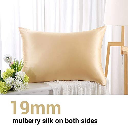 ZIMASILK 100% Mulberry Silk Pillowcase for Hair and Skin ,Both Side 19 Momme Silk, 1pc (Queen 20''x30'', Champagne)