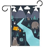 ガーデンフラッグ両面印刷防水漫画の動物はウサギの象の鹿 庭、庭の屋外装飾用