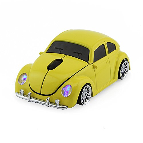 Usbkingdom 2.4GHz Wireless Mouse Cool 3D Sport Car Shape Ergonomic Optical Cordless Mice with USB Receiver for PC Laptop Computer Notebook 1600DPI Yellow