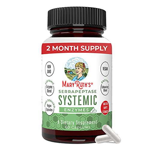 Serrapeptase Enzymes by MaryRuth's   Vegan Serrapeptase High Potency Sinus Pills for Allergy Support, Tissue Health and Cellular Health   Plant Based, Vegan Capsule   Enteric Coated   2 Month Supply