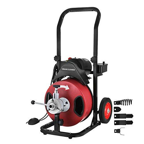 BananaB Rohrreinigungsmaschine Sectional Pipe Drain Cleaning Machine 50FT/15M Lange 1.27CM Breit Rohr-Reiniger Reinigung Werkzeug Drain Schlange Sewer Badewanne Waschbecken Snak(50FT)