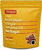 JustMeat Beef Jerky Zero Sugar - Keto Jerkey Bulk Low Carb Meat Snacks - Diabetic, Paleo Diet Friendly - 18g Protein Per Ounce - 4oz Bag - Teriyaki