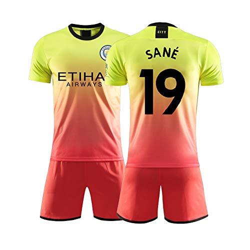 AELN Fußballtrikot-Set für Kinder-19# Sané Unisex Trainingsuniform Athletentrikot Teenager Sportswear Mesh Schnelltrocknende Fans Sweatshirt-orange-S(165~170CM)