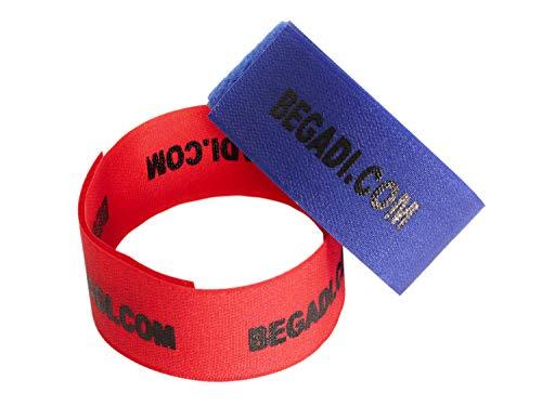 BEGADI Team Armband/Patch Set, rot/blau, 2 Stück (ca. 5,5cm breit)