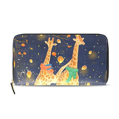 Geldbörse mit Reißverschluss, Giraffe, Kürbis-Laterne, Vintage-Design, PU-Leder, Kartenhalter, rechteckig, für Weihnachten, Geburtstag, Geschenk für Kinder, Mädchen, Jungen, Frauen