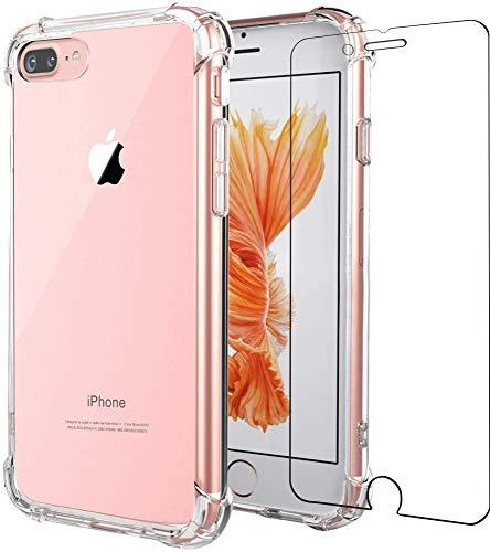"Funda para iPhone 8 Plus, iPhone 7 Plus, Folmeikat protector de pantalla, delgada, absorción de golpes, esquinas reforzadas, silicona TPU suave 5.5"" transparente"