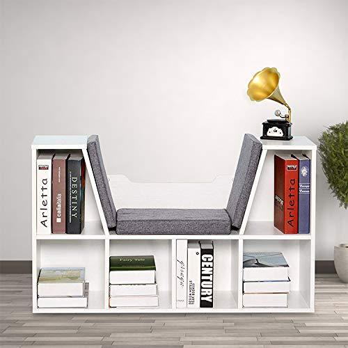 Novhome Kinder Bücherregal mit Sitzkissen, Mehrzweck Holz Bücherschrank 6 Fächer, Regal Schrank für Kinderzimmer Wohnzimmer 102x30x61cm (Weiß)