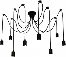 Lixada 8 Arms(Each with 1.7m Wire) Ajustable DIY Ceiling Spider Lamp Light,Industrial Pendant Light Spider Pendant...