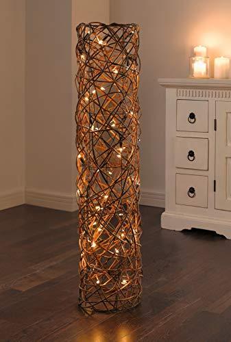 """Dekosäule""""Lichterzauber"""" aus Weide, 110 cm hoch, mit LED Lichterkette, Stehlampe, Bodenleuchte"""