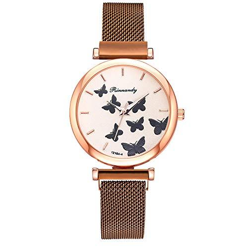 Powzz - Reloj de pulsera con diseño de mariposa, esfera de cuarzo, imantado simple, informal, color marrón