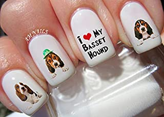 Basset Hound Dog Water Nail Art Transfers Stickers Decals - Set of 39