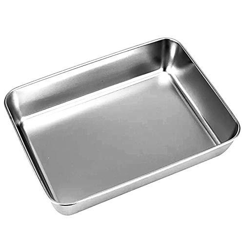Güker Backblech aus Reinem Edelstahl,Rechteckigies Kuchenblech Ofenblech zum Backen Kochen , Tiefer Rand, Hochglanzpoliert und Spülmaschinenfest-30x35x5.5cm