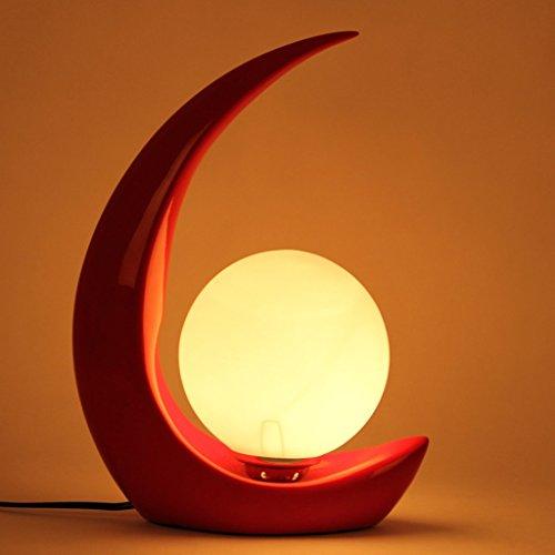 Lampada da tavolo moderna da salotto HALORI lampada in vetro satinato a base di lampade in resina, disegno a forma di luna, opere d'arte decorative creative (rosso)