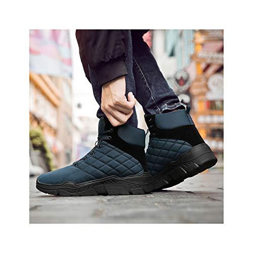 HaoLin Fanático del Ejército Zapatillas De Deporte De Montañismo Calzado Zapato Botines Botas De Nieve De Invierno Zapatos De Trabajo De Felpa,Blue-43