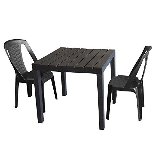 Heller–Mobili da giardino set tavolo da giardino in plastica, antracite, effetto legno, 78x 78cm + 2X SEDIA IMPILABILE PROCIDA, Plastica Antracite, effetto rattan