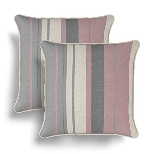 IT IDEAL TEXTILES Set of 2 Pink Striped Cushion Covers, Pair of Blush Stripe Design Cotton Cushion Covers, Piped Trim Cushion Cases, Sofa Chair Throw Pillow Cases, 17' x 17', 43cm x 43cm