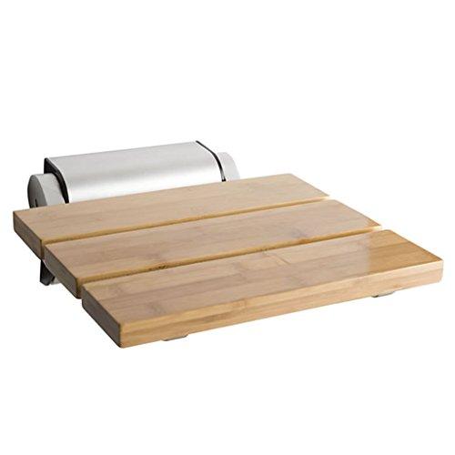 IAIZI Silla de baño plegable Taburete de ducha montado en la pared, Base de acero inoxidable, Asiento de bambú rectangular, Taburete de ducha de baño pesado, Adecuado for los ancianos, discapacitados,