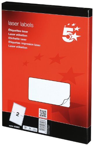 5 Star Addressing Labels Laser 2 per Sheet 199.6x143.5mm White [200 Labels]