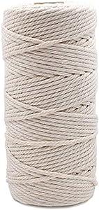Macrame Cord 3mm 109 Yard 100% Natural Cotton Wall Hanging Plant Hanger Craft Making Knitting Cord Rope 109 yd (3mm)