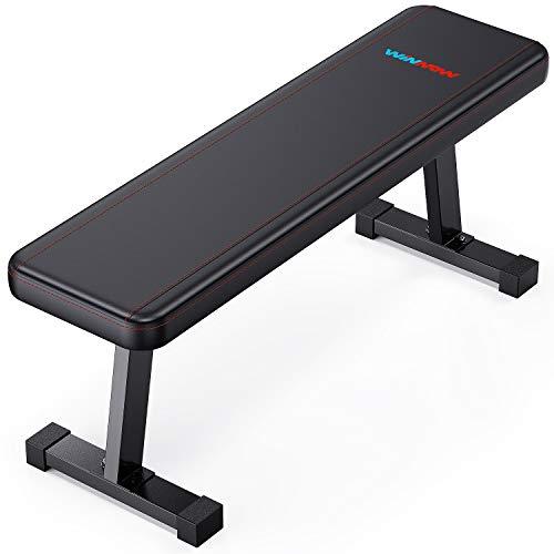 WINNOW ウェイトベンチ ダンベル トレーニングベンチフラットベンチ Abs 腹部 筋トレ ベンチ 多機能フラットベンチ, スペース節約設計- 家庭用