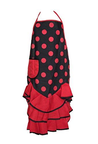La Senorita Spaanse Flamenco Schort voor vrouwen Zwarte Rode Polkadots