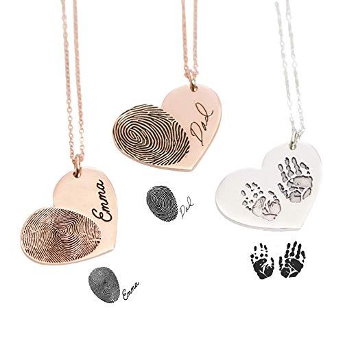 Fingerprint Heart Necklace, Custom Engraved Handwriting - Your Actual Fingerprint - Personalized Memorial Gift