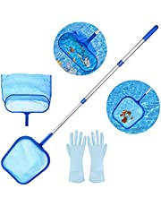 Aiglam Recogehojas de Piscina, Swimming Pool Skimmer Net, Fine Mesh Leaf Skimmer & Deep Bag with 45¡± 3-Section Telescopic Pole for Cleaning Garden Pond, Hot Tub and SPA
