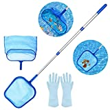 """Recogehojas de Piscina,Aiglam Swimming Pool Skimmer Net, Fine Mesh Leaf Skimmer & Deep Bag with 45"""" 3-Section Telescopic Pole for Cleaning Garden Pond, Hot Tub and Spa"""
