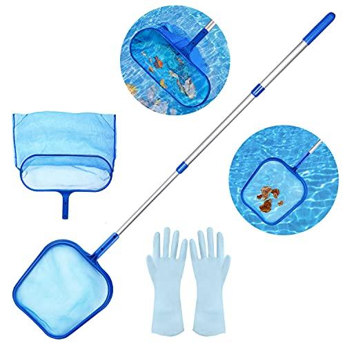 Aiglam Retina Raccogl Foglie,skimmer per foglie a maglia fine e borsa profonda con asta telescopica a 3 sezioni da 45 'per la pulizia di laghetto da giardino, vasca idromassaggio e spa