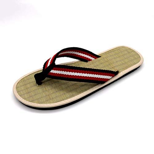 GHX Flip-Flops, Strohmatten, Tatami kreative Heimat Stoff Hausschuhe, Männer und Frauen Gurtband Schuhe,A,39
