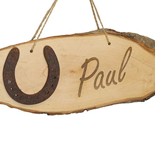 LiLa-Pferd Türschild/Boxenschild Holz mit Hufeisenmotiv und Gravur