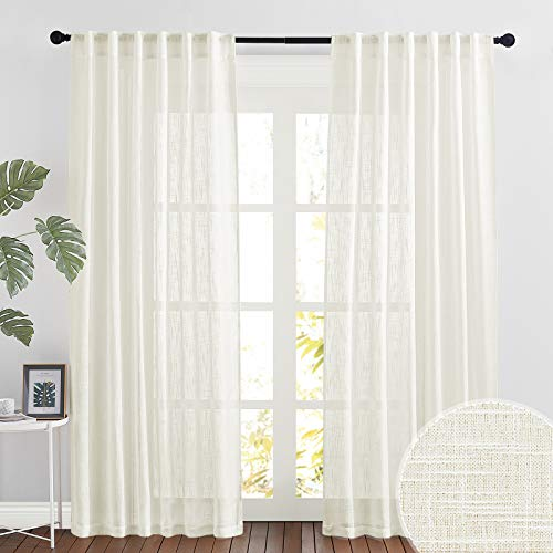RYB HOME Linen Sheer Curtains for Bedroom Privacy Textured Sheer Window Curtains for Living Room Bsthroom Dining, Natural, Wide 52 x Long 90, 2 Panels