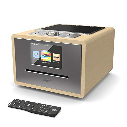 Majority Homerton Internetradio, WiFi/WLAN Radio, DAB/DAB+ / UKW, Bluetooth, CD-Player, Fernbedienung, Doppelwecker, AUX und USB Anschluss, Retro Radio