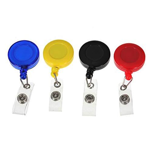 Newin Star 4 piezas en colores surtidos con clip llavero regalo tarjeta de identificación Placa de soporte de clip retráctil Ronda insignia carretes (Negro, azul, rojo, amarillo)