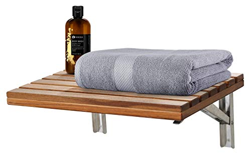 ANZZI Goreme 24 in x 12.6 in Wall Mounted Folding Teak Shower Seat | 280 lbs Weight Capacity Wood and Stainless Steel Spa Bench Fold Down Seat for Bath | Modern Wooden Foldable Shower Chair | AC-AZ205