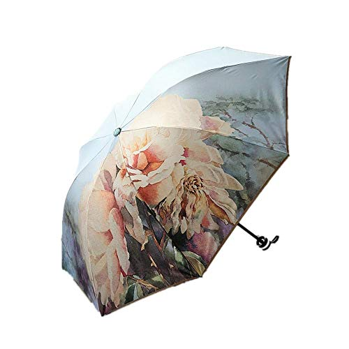 DZNOY Folding Umbrellas Double-Layer Thickened Triple Folding Retro Double-Sided Printing Sunshade Umbrella for Both Rain and Sunshine umbrella (Color : Wathet)